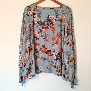 a.n.a Floral Boho Blouse Gathered Shoulder XXL